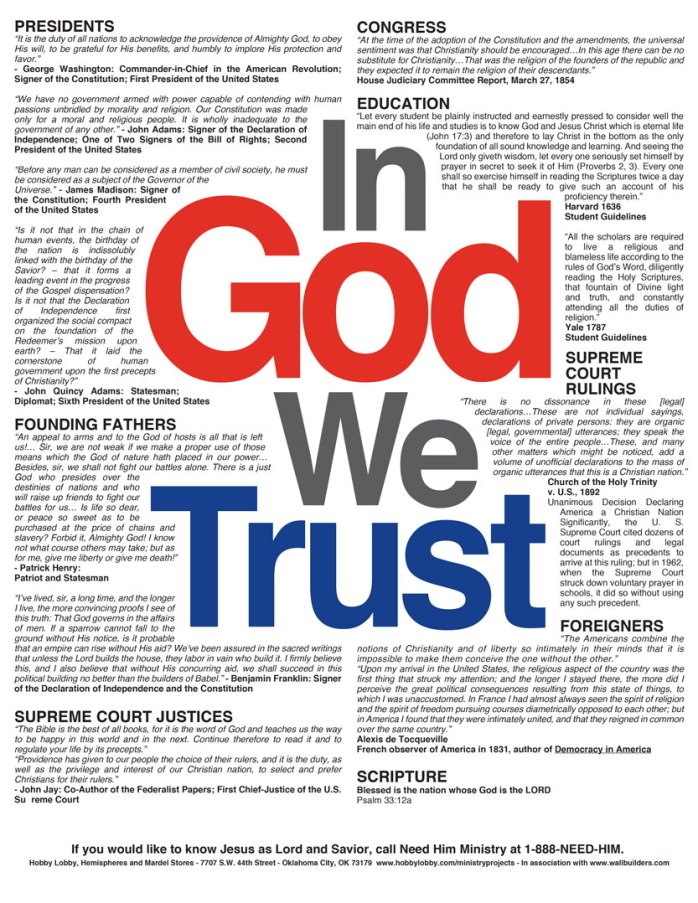 In God We Trust was published originally by The Hobby Lobby. Used with permission